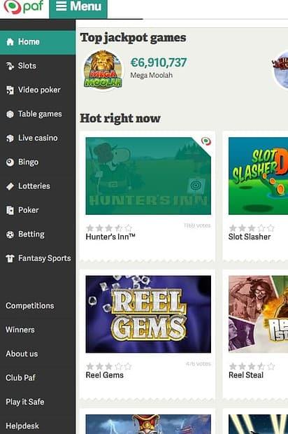 Paf.com Casino free spins