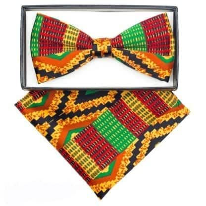 Kente Cloth Bowtie and pocket Square Set Mens Kwanzaa African Print Bow Tie