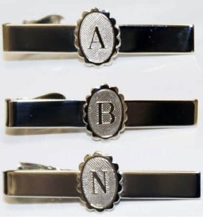 Initial Tie Bar Silver Engraved Letters Personalized Tie Tack