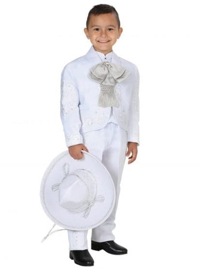 Boys White Charro Mariachi Suit For Baptism or first Communion