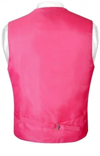 Mens Paisley Tone On Tone Hot Pink Fuchsia Vest with Tie Set