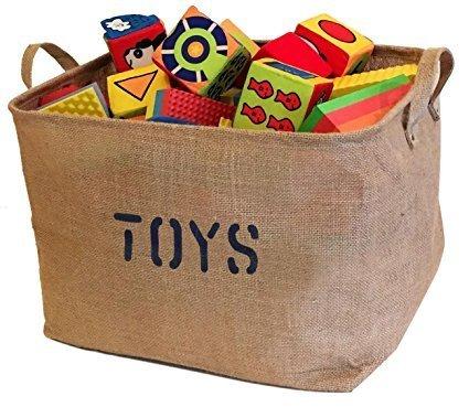 jute toy storage bin with handles