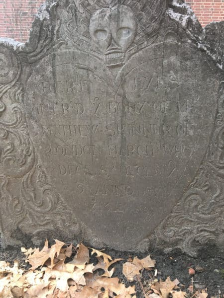 One of the more haunting grave marrkers in the granary burial ground in boston
