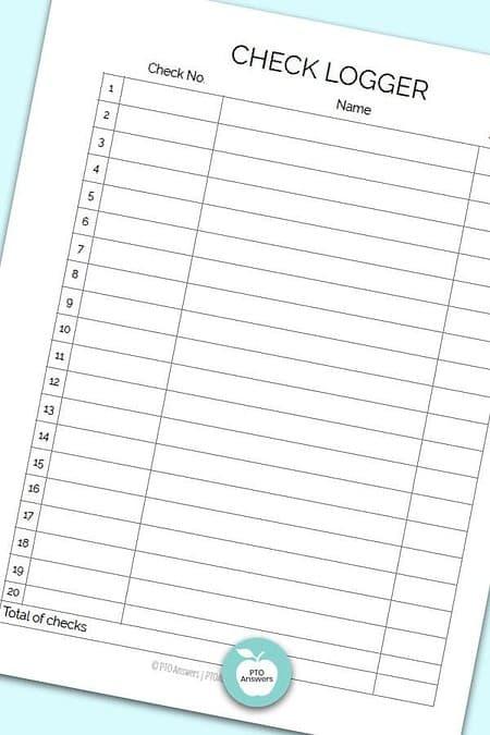 Printable Treasurer Forms including check logger form to manage money and PTO finances