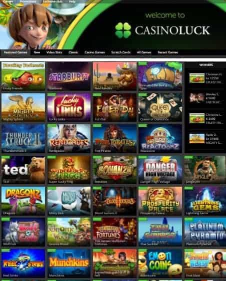 CasinoLuck 100% bonus and 150 free spins