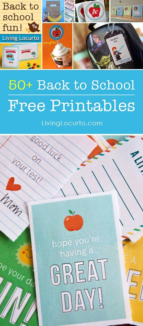 50 of the BEST Back to School Free Printables. Get ready for school with the BEST Back to School Free Printable downloads. Teacher gift ideas, lunch box notes, labels, calendars, bookmarks and more! LivingLocurto.com