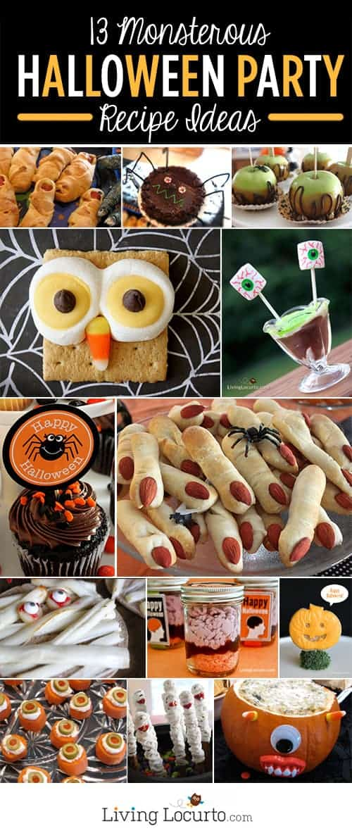 Your party guests will get a kick out of these 13 Monsterous Halloween Food Ideas. Fun and spooky Halloween party recipes!