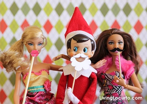 Elf on the Shelf Photo Booth with Barbie   Free Party Printable Mini Props by Living Locurto