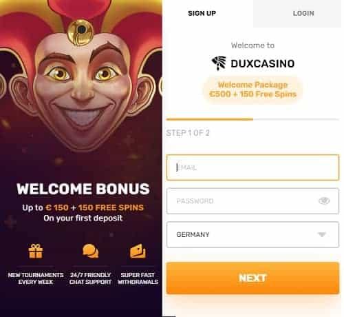 Register at DuxCasino.com
