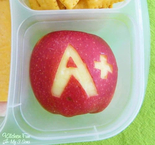 Back to School Apple! A Fun Food School Bento Lunch by Jill from Kitchen Fun with my 3 Sons. LivingLocurto.com