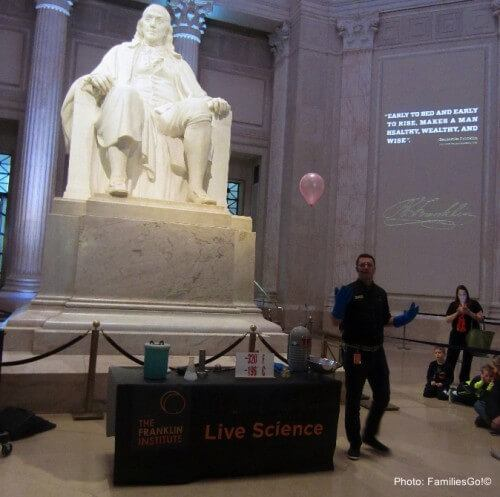 Benjamin franklin watches a science demonstration in philadelphia