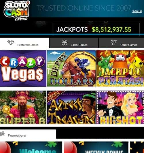 Sloto Cash Casino Review   $7777 welcome bonus and 300 free spins