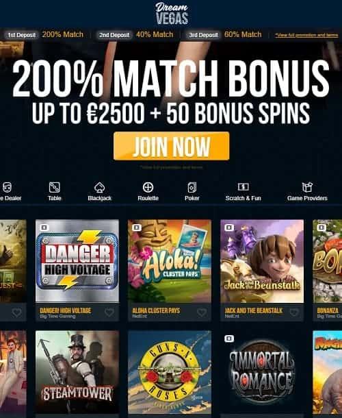Dream Vegas Casino Review: 120 gratis spins + €/$7500 free bonus