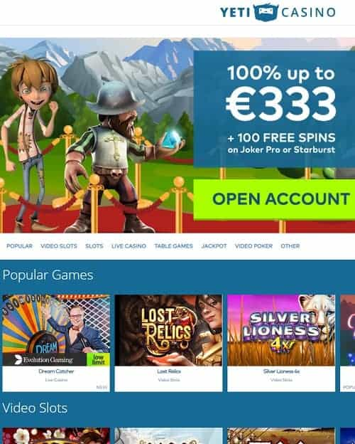 Yeti Casino free bonus Review