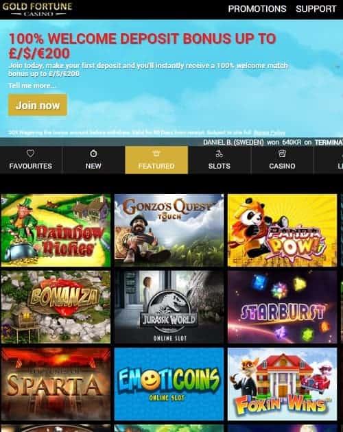 Gold Fortune Casino Free Spins Bonus