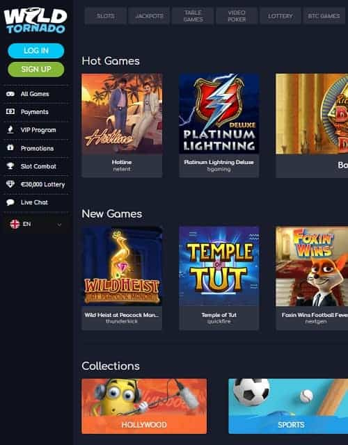 Wild Tornado Casino Review: 225% up to $/€450 bonus + 150 free spins