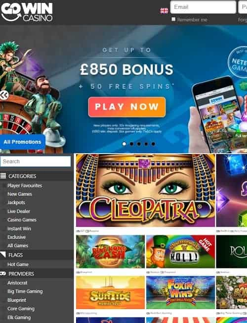 GoWin Casino Review | 50 free spins + 350% up to £850 free bonus