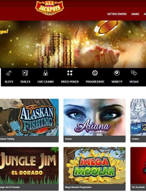 All Jackpots Casino free play bonus
