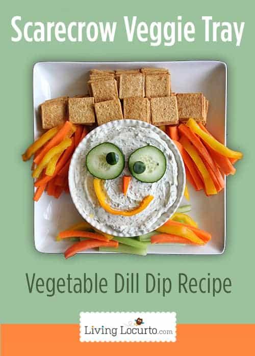 Cute Scarecrow Vegetable Tray & Dill Dip Recipe LivingLocurto.com