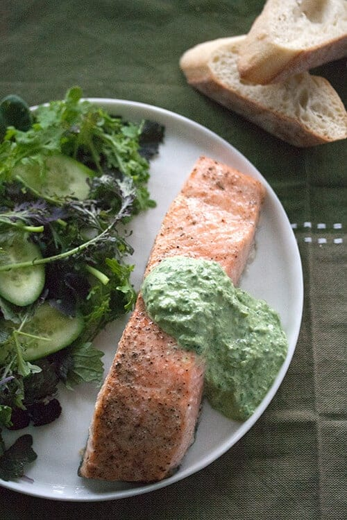 Planked Salmon with Fresh Sorrel Sauce