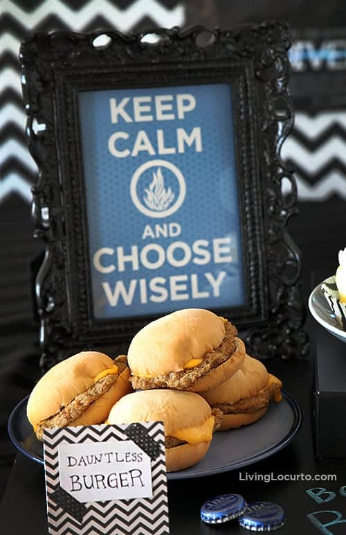 Divergent Party Ideas with Free Party Printables. Dauntless Hamburger. LivingLocurto.com