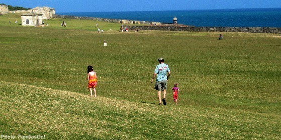 The lawn at el morro is good for running around and kite flying
