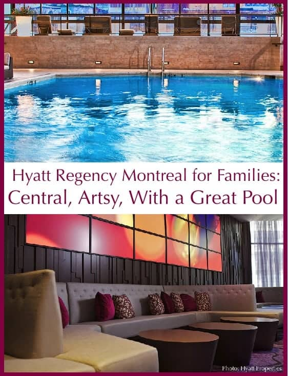 The hyatt regency montreal is a great choice for a montreal vacation with kids because of its handy location, fun art and very nice atrium pool. #montreal #hotels #review #kids #travelideas