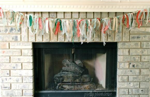 ribbon garland hanging on mantle