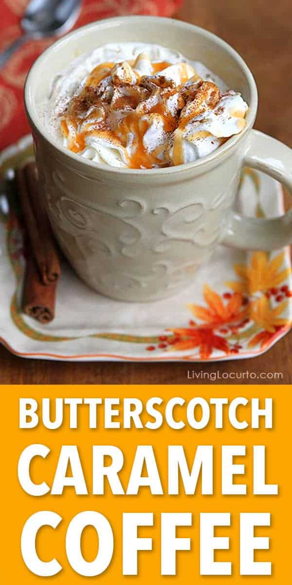 Easy Butterscotch Caramel Coffee recipe makes the perfect drink for cold nights! Comes with a free printable recipe card for a holiday party coffee bar.