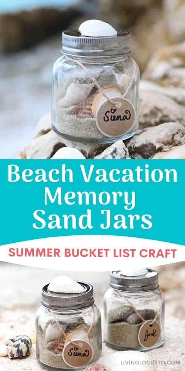 Beach Vacation Memory Sand Jars- Summer bucket list kids craft