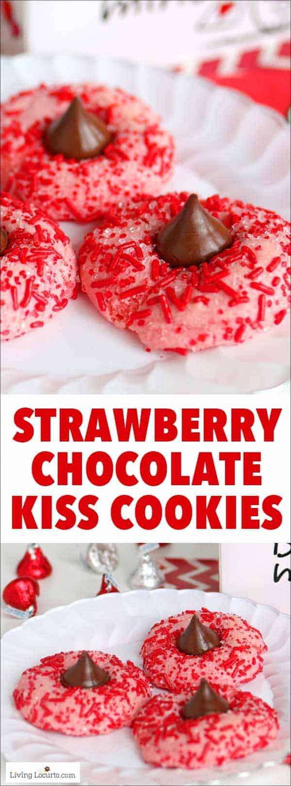 Easy Strawberry ChocolateKiss Cookies recipe! Strawberry cake mix thumbprint cookies rolled in red candy sprinkles and with a Hershey's Chocolate Kiss. Cute for Valentine's Day. #cookies #recipe #chocolate