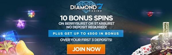 Diamon7 Casino 10 free spins no deposit bonus