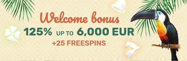 125% up to €6000 and 25 free spins plus 75% up to €4000 and 25 free spins