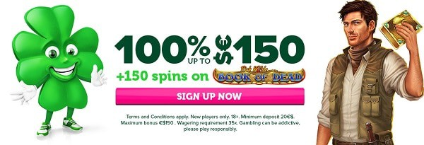 100% welcome bonus and 150 free spins on Book of Dead