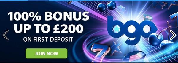 100% welcome bonus at Bgo