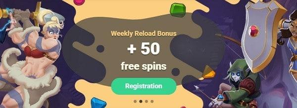 Yoyo Casino 50 free spins reload bonus