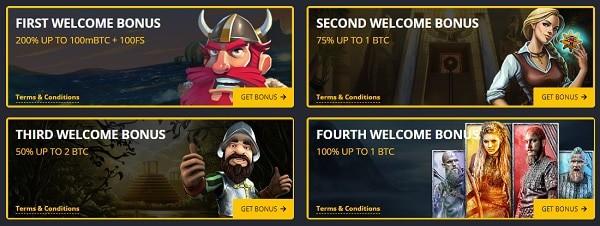 4-tier welcome bonus: 5 BTC and 100 free spins