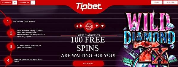 100 free spins on Wild Diamond 7X