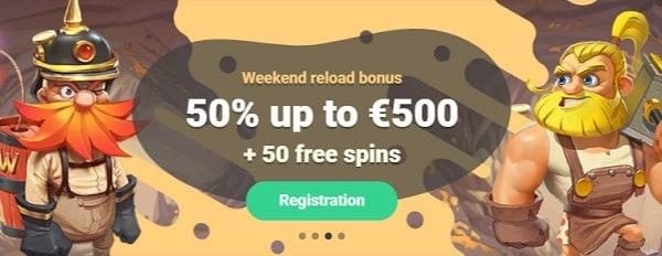 Yoyo Casino 50% extra bonus and 50 gratis spins
