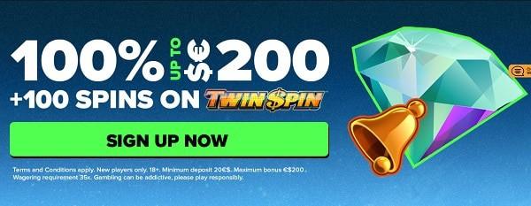 Claim 100% promotion and 100 gratis spins