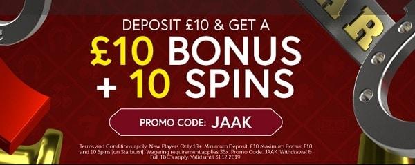 Jaak Casino welcome bonus code: JAAK