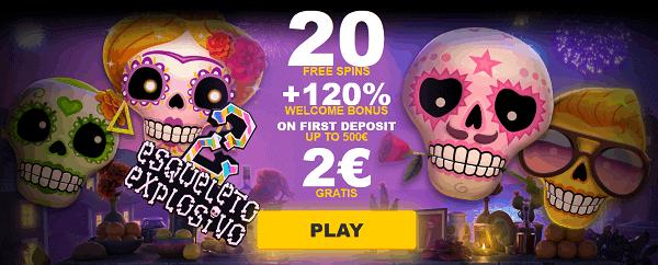 20 free spins on Esqueleto Explosivo