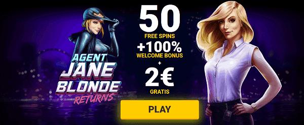 50 free spins on Agent Jane Blonde Returns