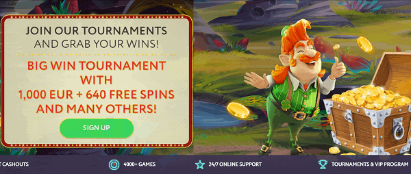 Big Win Tournament: 1000 EUR and 640 Free Spins Giveaway
