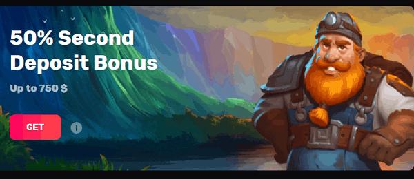 50% Second Deposit Bonus
