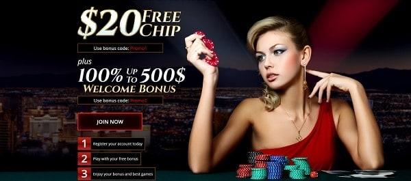 $20 free chip bonus on Realtime Games