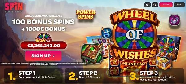 100 Bonus Spins on Wheel of Wishes