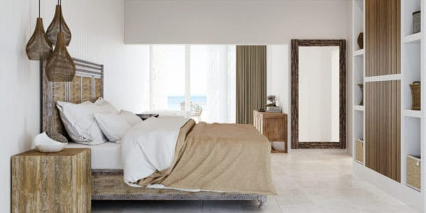 59017aone of the recently remodeled rooms at long bay beach club in tortola, bvi features neutral colors and modern beach decór.