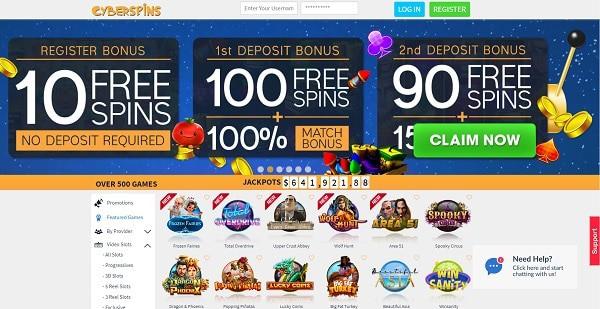 Cyberspins $1250 + 110 free spins welcome bonus