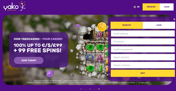 99 free spins and 100% welcome bonus